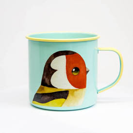 Gold Finch Enamel Mug
